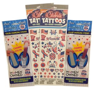 patriotic color changing straw & tattoo bundle